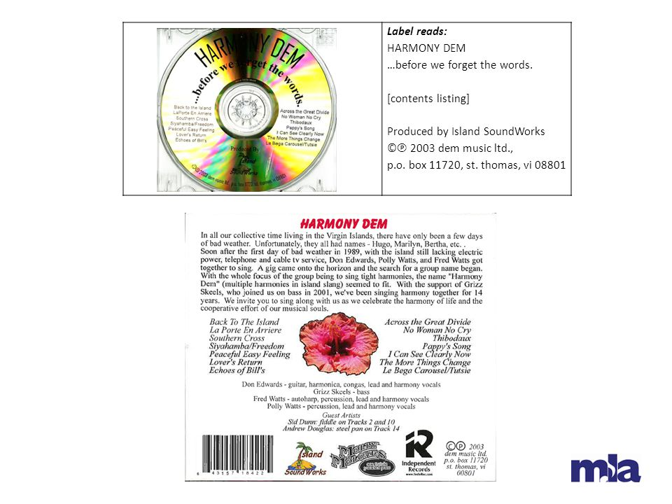 Label reads: HARMONY DEM. …before we forget the words. [contents listing] Produced by Island SoundWorks.
